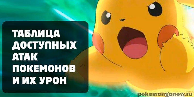 Таблица атак покемонов и их урон в Pokemon Go