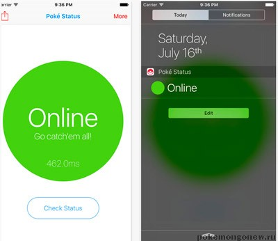 Poke Status приложение для iOS