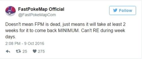 Карта покемонов FastPokeMap обещает вскоре заработать